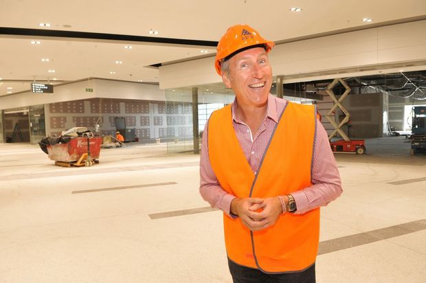 The new Harvey Norman Centre is taking shape. Dale McDermid from McKenzie Hall overlooks the construction of the centre. Photo:Warren Lynam / Sunshine Coast Daily