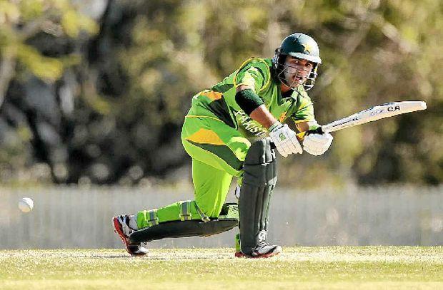 Pakistan's Sami Aslam bats in an earlier game against Australia.