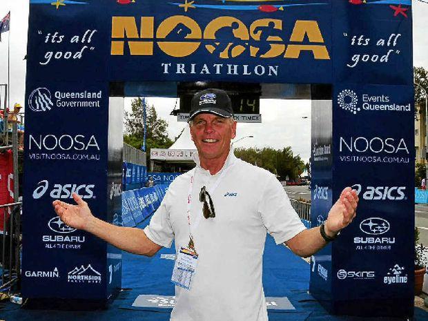 Garth Prowd at the Triathlon finish line.