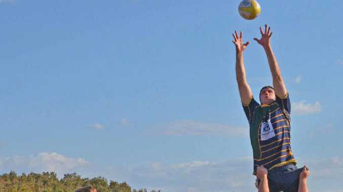 AIMING HIGH: Ryan Duncan soars to ensure the Killerwhales win that lineout.