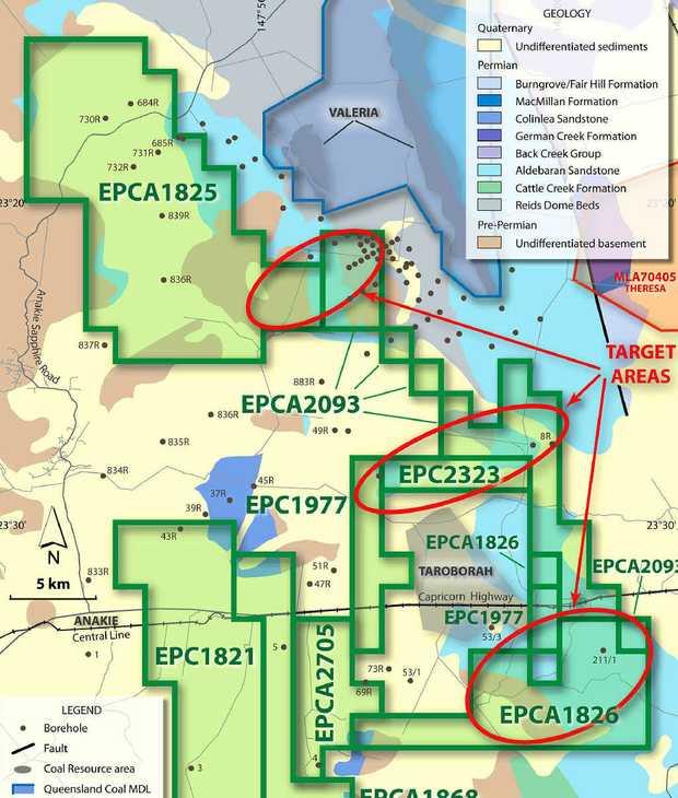 Cuesta Coal's exploration targets skirt Rio Tinto's Valeria deposit and Shenhuo's Taraborah tenement west of Emerald.