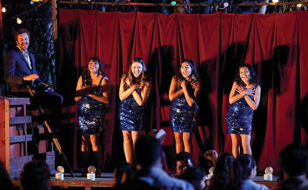 From left, Chris O'Dowd, Deborah Mailman, Jessica Mauboy, Shari Sebbens and Miranda Tapsell in a scene from the movie The Sapphires.