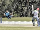 A Scotland bowler dodges a ball fired straight back at him by Afghanistan's Afsar Khan.