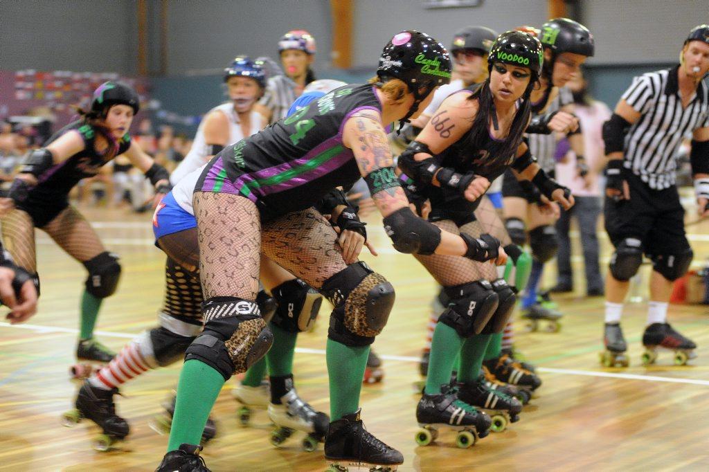 Roller Derby, Harbour City Hustlers vs Tweed Valley Vixens, PCYC, Gladstone.