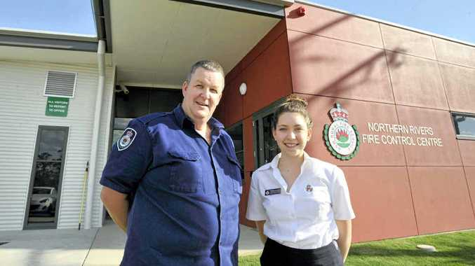 Superintendent Michael Brett and Administration Officer Rebecca Dunning outside the new Northern Rivers Fire Control Centre in Casino.