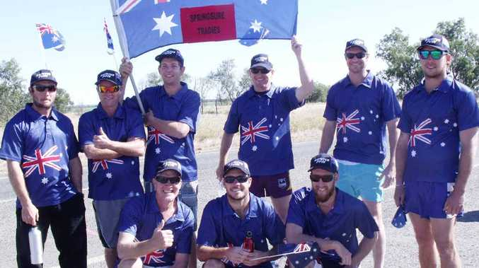 The Tradies went with a traditional look, incorporating the Australian flag in their team garb.