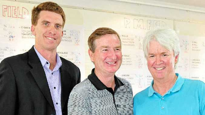 Noosa Legends Pro Am winner Kiwi Craig Owens (centre), Mark Tickle and David Rosenthal.