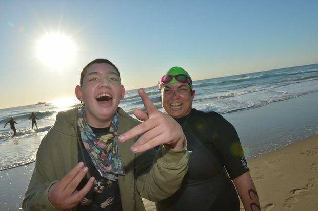 Mary Taylor and her son Kenny at the Island Charity Swim. Photo: John McCutcheon / Sunshine Coast Daily