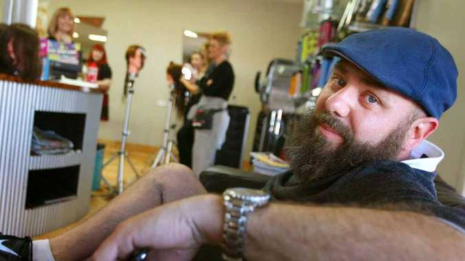 Globe-trotting hairdresser Clive Allwright kicks back at R'NA Hair Studio in Rockhampton during his visit.