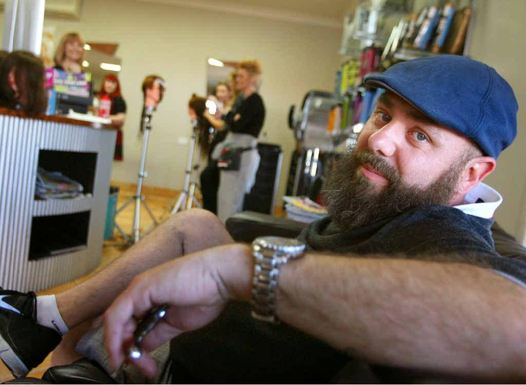 Globe-trotting hairdresser Clive Allwright kicks back at R'NA Hair Studio in Rockhampton during his visit.