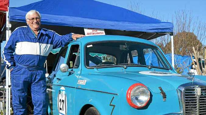 Yangan man Robin Todd with his 1958 Austin Lancer at the Leyburn Sprints at the weekend.