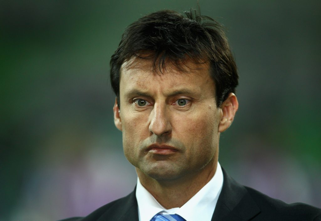 Fox Sports commentator Laurie Daley previews the round four NRL match between the Melbourne Storm and the Canterbury Bulldogs at AAMI Park on April 4, 2011 in Melbourne, Australia.