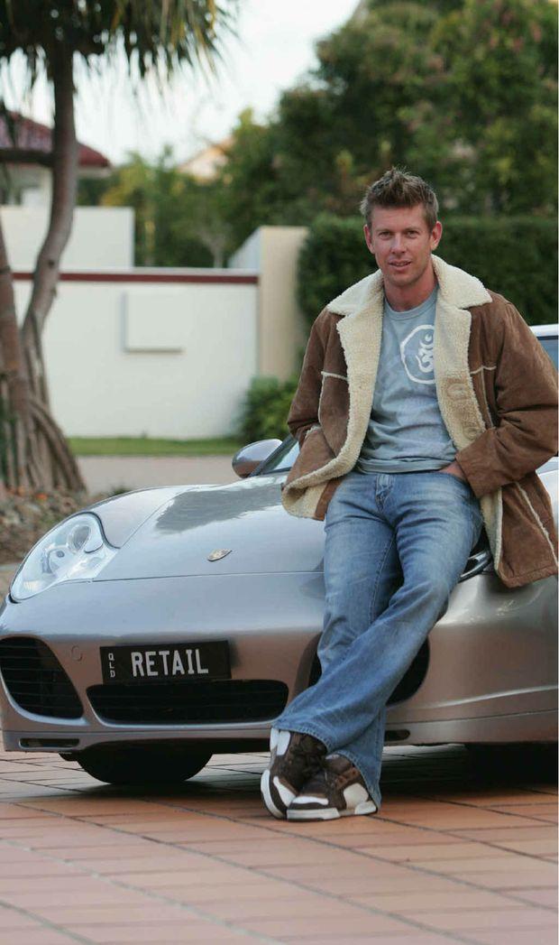 Scott Juniper and the Porsche he drove in the 2005 Targa Rally Tasmania.