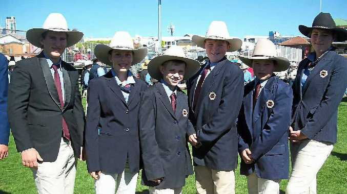 GROUP EFFORT: Warwick State High School Ekka team Tristan Rickert, Hannah Holmes, Thomas Murphy, James King and Lachlan Beale and Amy Mehgran.
