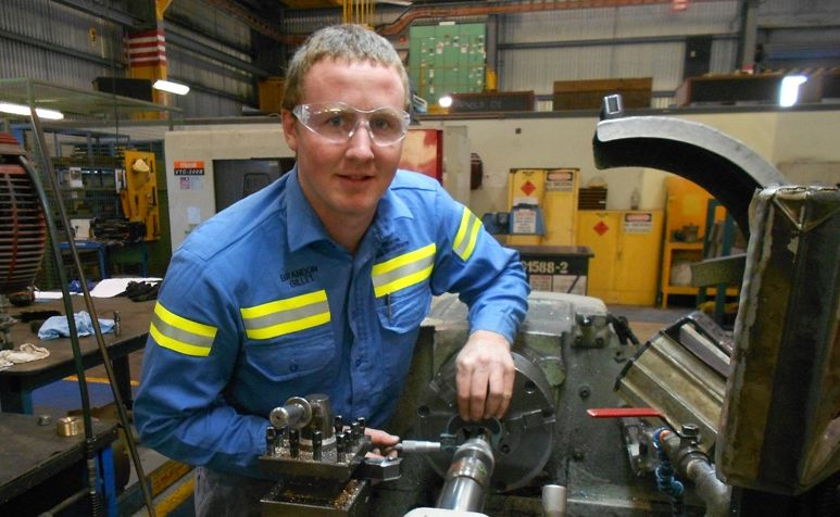 Apprentice fitter and turner Brandon Gillett is one of 10 CQTAFE students competing in the WorldSkills national finals