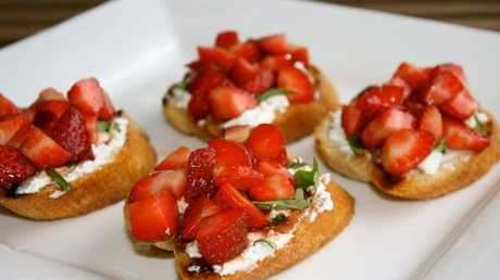 Miss Foodie's Balsamic Strawberry and Goats Cheese Bruschetta.