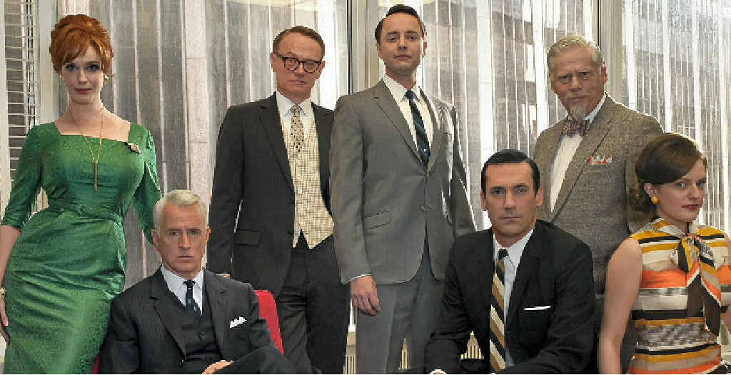 1950s fashion is cool again thanks to the popular television show Mad Men. Pictured are stars (from left) Christina Hendricks, John Slattery, Jared Harris, Vincent Kartheiser, Jon Hamm, Robert Morse and Elisabeth Moss.