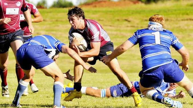 Toowoomba Bears five-eighth Stirling Keys takes on the USQ defence during a Risdon Cup premiership round.