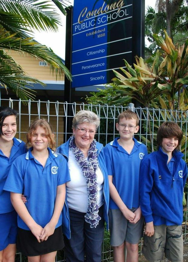 Former student Eunice Higgins is pictured with the current Condong school captains, Alice Knight, Samantha Milne, Ashley Gregg and Angus Pereira.