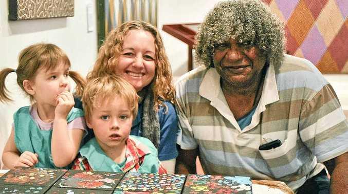 from left Rachel Dick (4), Banjo Keane (2) Jackie Babbage (pre-school teacher) and Bundjalung artist Albert 'Digby' Moran.