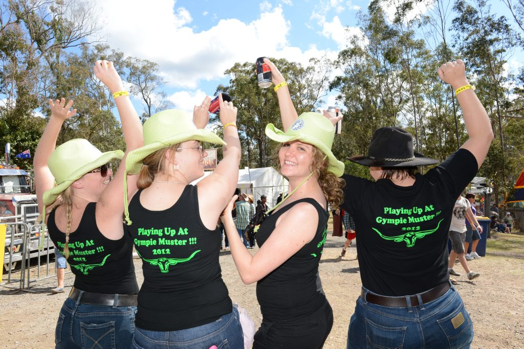 Warwick locals Jodie Ellis, Renee Hooke, Cassie Lo-Giudice, and Nat Cody are in Gympie for the Optus Music Muster.
