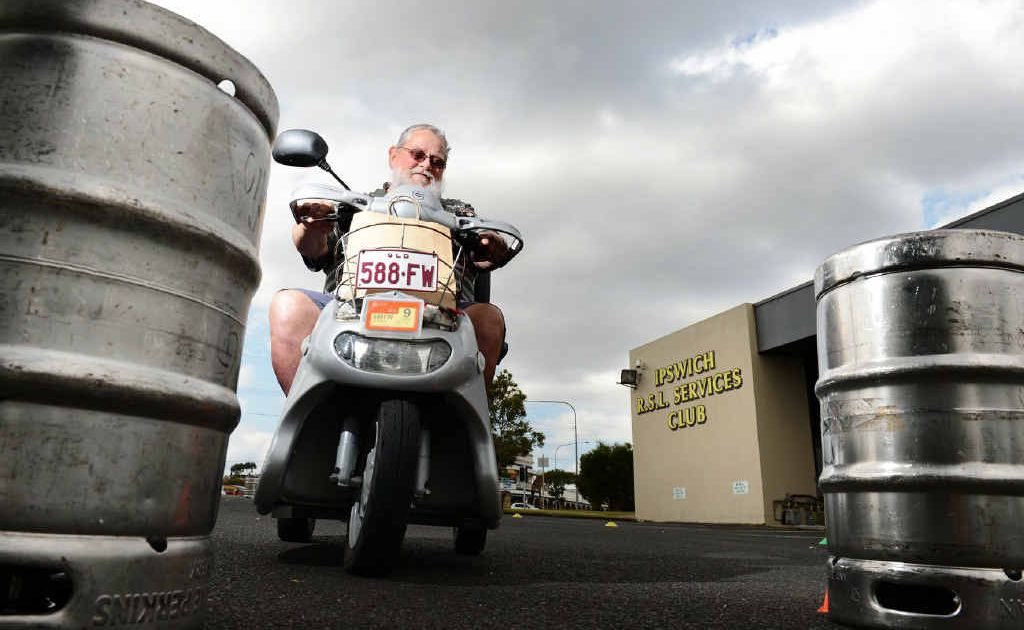 Woodend resident Bob Kennedy attended the Walk on Wheels mobility scooter awareness day at the RSL in Ipswich, where drivers had to negotiate an obstacle course.