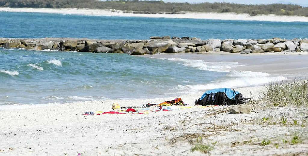 The scene at Kings Beach where a parachutist fell to his death.