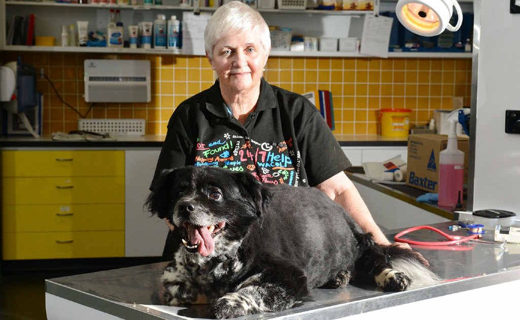 RSPCA vet Vicki Lomax with Buster the dog. Buster is 25kg, which is about 10kg overweight.