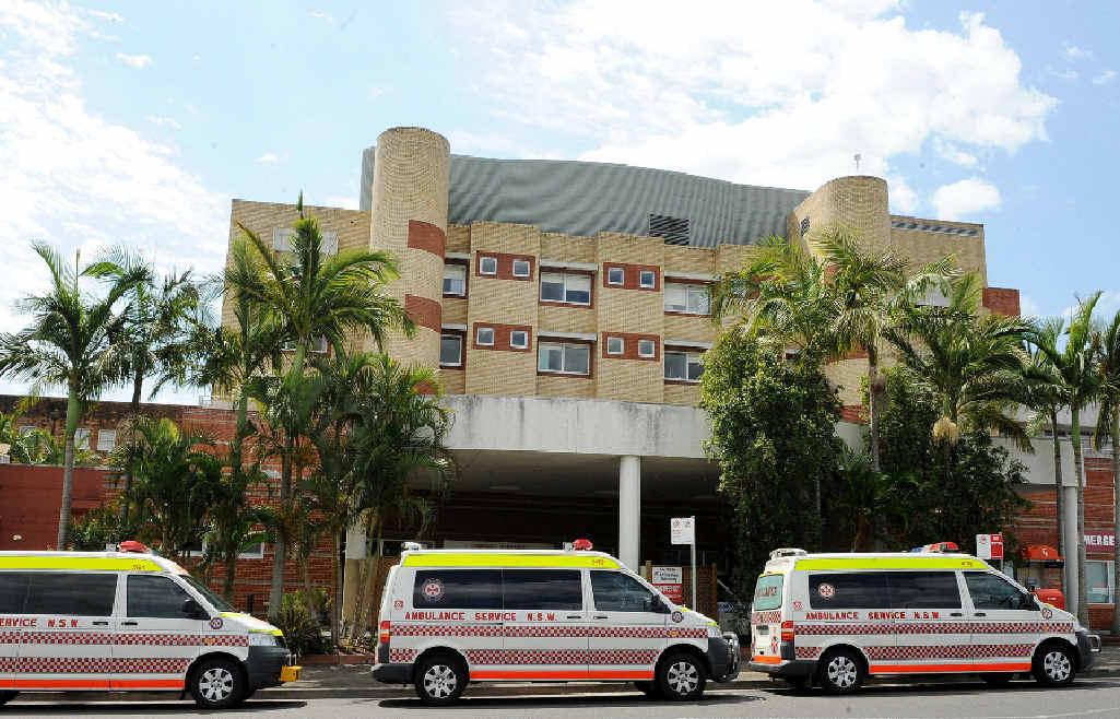 Ambulance vehicles outside Lismore Base Hospital.