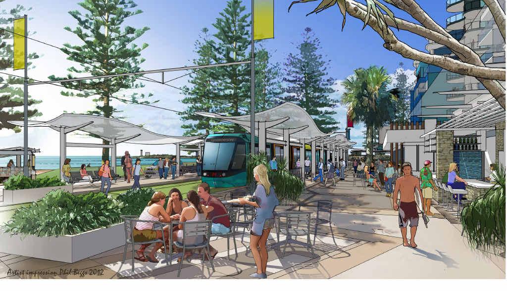 An artist impression of light rail plans for the Sunshine Coast.