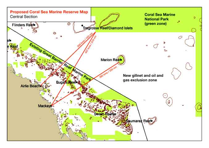 Proposed Coral Sea Marine Reserve Map Central Section