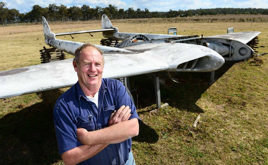 Chris Gratton and some friends are restoring this old DH Vampire Fighter Jet to put on display at Calvert Model Aeroplane Club.