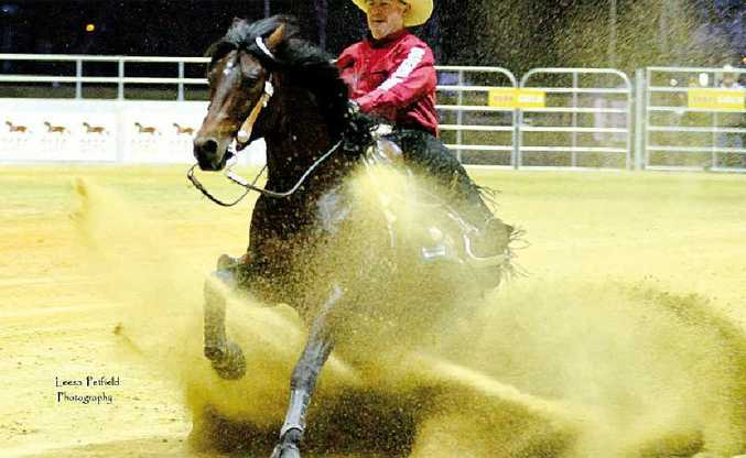 Ed Smith and Whiskers in action at the Queensland Reining Horse Association State Championships