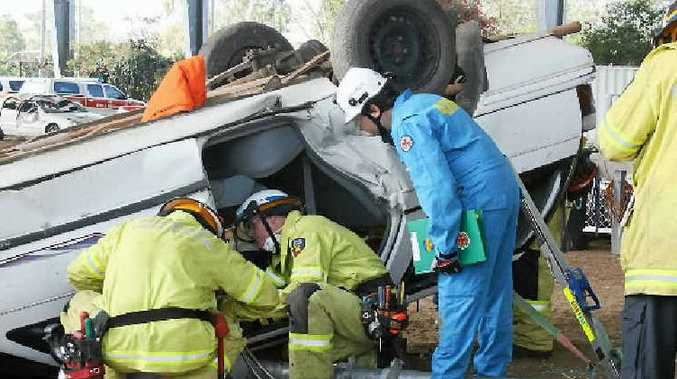 The Blackwater team work through an exercise at the Regional Road Crash Rescue Challenge in Rockhampton.