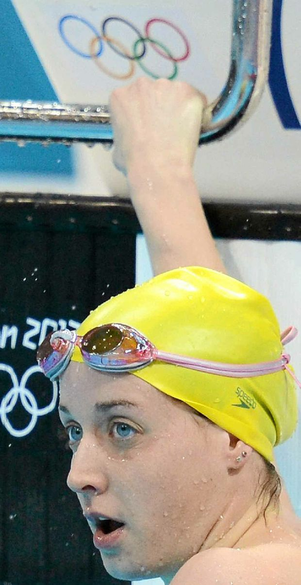 Samantha Hamill checks the results after her heat in the women's 200m butterfly at the London Olympics.