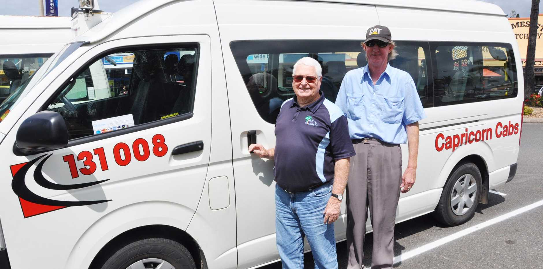 DONE DEAL: Capricorn Cabs' Barry McLauchlan and Ron Ware are happy to be improving taxi service on the Capricorn Coast.