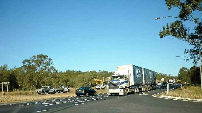 SLOW GOING: Traffic is reduced to one lane each way on the Warrego Hwy at Helidon.