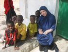 Imogen Bailey pictured at a school in Mogadishu, Somalia in a scene from the TV series Go Back To Where You Came From.
