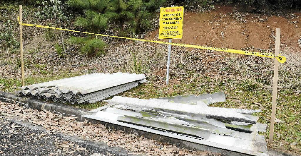 Asbestos illegally dumped in carpark of Kadina Park, Goonellabah.