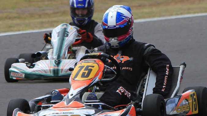 Bundaberg-based karter and multiple state and national title holder Kel Treseder burns the rubber.
