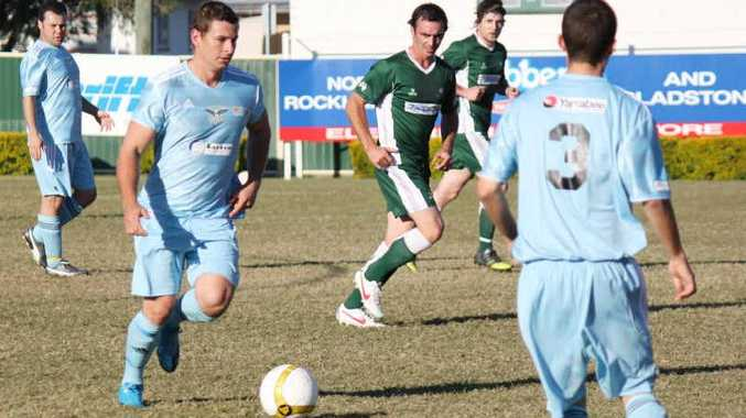 Emerald Eagles' Cody Clarke on the run against Frenchville at the Frenchville Sports Club in Rockhampton earlier this year.
