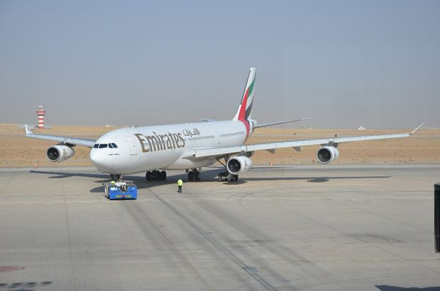 Emirates aircraft taxing in Erbil airport.