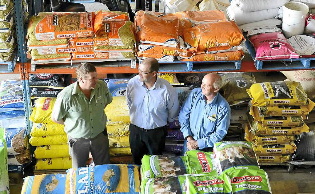 Branch manager of Landmark Harwood and Grafton Phil Nelson, north east regional director Robert Payne and merchandise manager Grafton Allan Morgan.