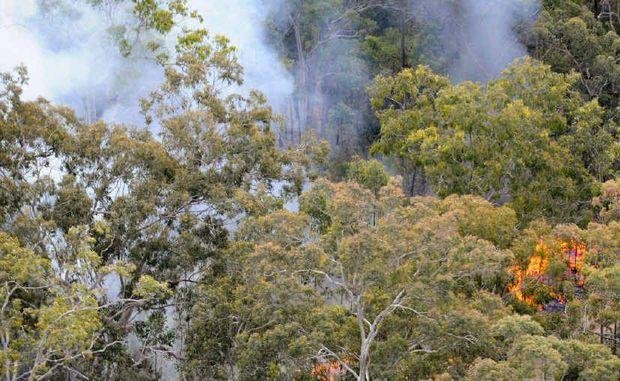 Fires burn through bushland near Chambigne.