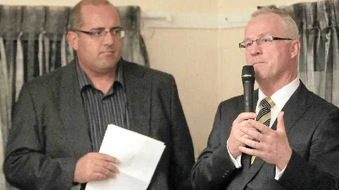 FIRST 100 DAYS: Mayor Mark Jamieson responds to a question from Sunshine Coast Daily editor-in-chief Mark Furler at a function on Thursday.