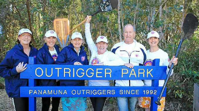 Panamuna Outrigger Club's Gail Brown, Jo Franklin, Lyn Mohi, Carmel Clayton, Neil Dalziel and Michelle Scanlan are proud the northern tip of Kawana Island is named Outrigger Park in the club's honour.