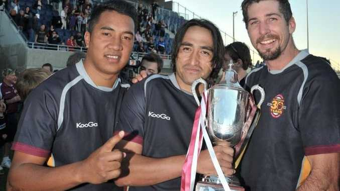 Local rugby union grand final between the Noosa Dolphins and the Caboolture Snakes at Stockland Stadium, Bokarina: Caboolture's Poasa Mapu, Tane Kiel and Jay Forrester. Photo: Brett Wortman / Sunshine Coast Daily