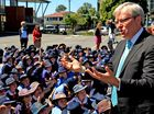 Former PM Kevin Rudd talks to students at St Josephs Catholic Primary School in Tweed Heads.