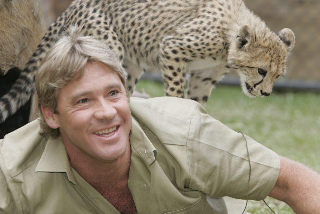Steve Irwin with a baby cheetah at Australia Zoo.