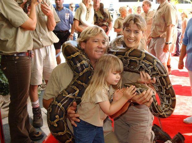 Steve, Terri and Bindi Irwin at the opening of the Crocodile Hunter's 'Collision Course' movie at Sunshine Plaza.